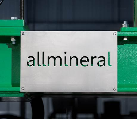 allmineral logo milled out of metal sheet