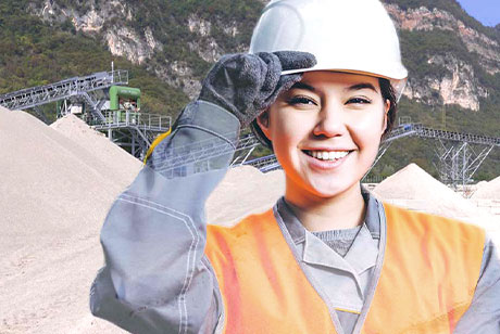 Female employee on building site